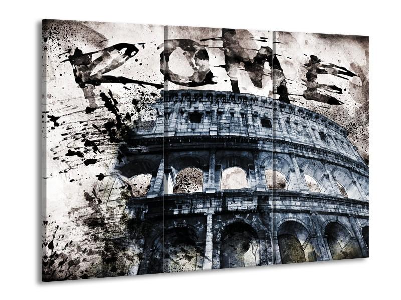 Glasschilderij Italie, Rome | Grijs, Blauw | 60x90cm 3Luik