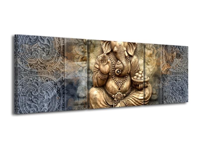 Canvas Schilderij Beeld | Grijs, Goud | 150x50cm 3Luik
