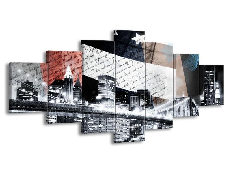Glasschilderij Steden, Modern | Grijs, Zwart, Wit | 210x100cm 7Luik