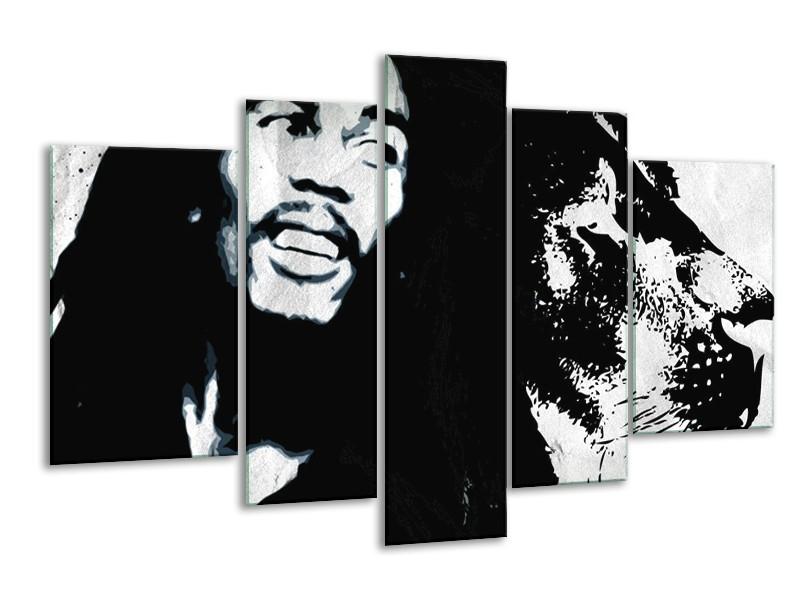 Glasschilderij Bob Marley   Zwart, Wit   170x100cm 5Luik