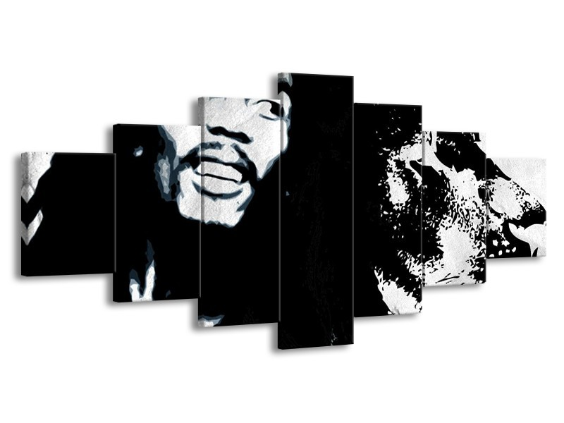 Glasschilderij Bob Marley   Zwart, Wit   210x100cm 7Luik
