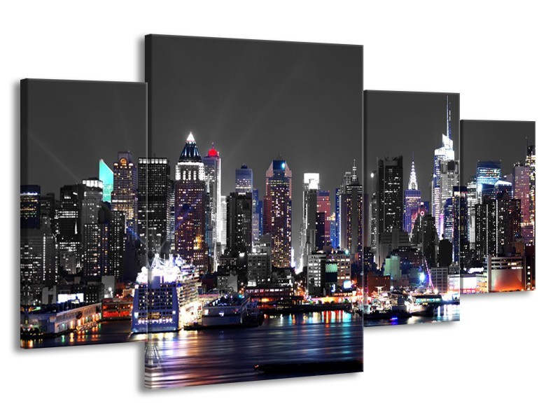 Glasschilderij Steden | Grijs, Paars | 160x90cm 4Luik