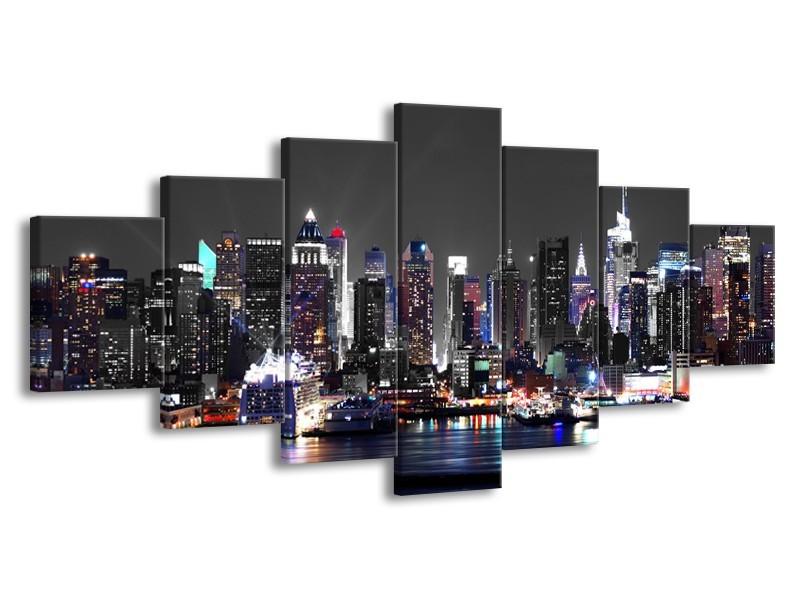 Glasschilderij Steden | Grijs, Paars | 210x100cm 7Luik