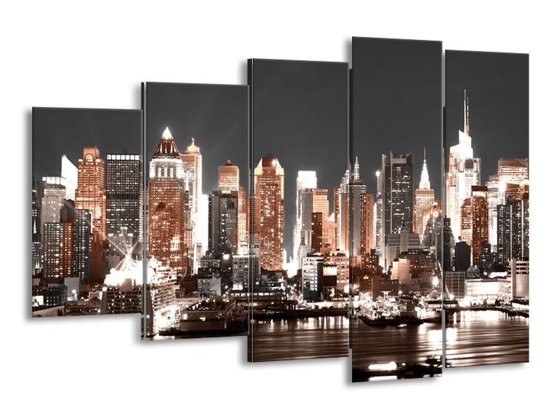 Glasschilderij Steden | Grijs, Bruin, Goud | 150x100cm 5Luik