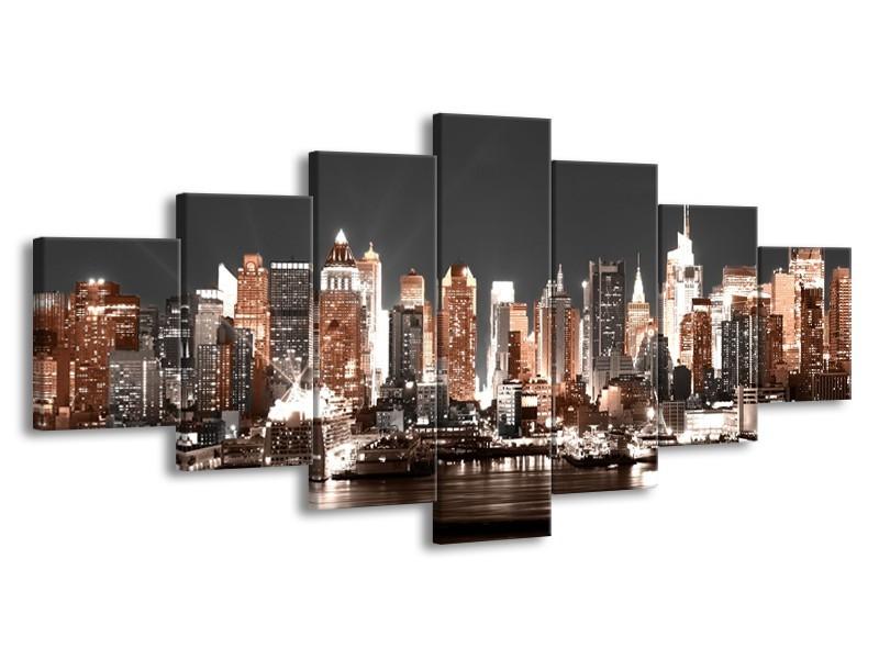 Glasschilderij Steden | Grijs, Bruin, Goud | 210x100cm 7Luik