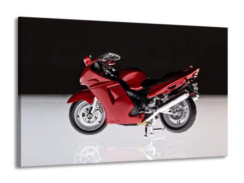 Glasschilderij Motor   Zwart, Wit, Rood   140x90cm 1Luik