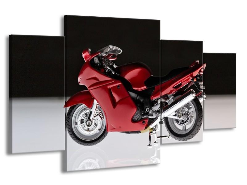 Canvas Schilderij Motor | Zwart, Wit, Rood | 160x90cm 4Luik