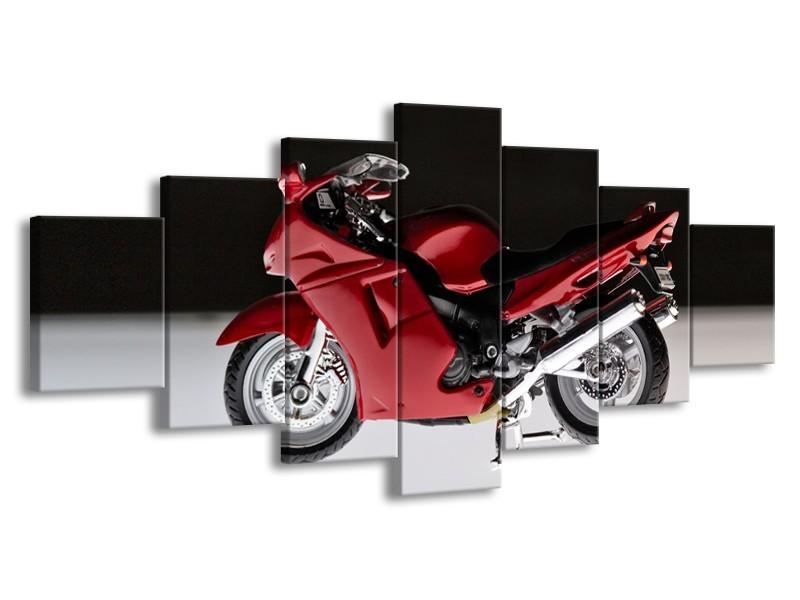 Glasschilderij Motor | Zwart, Wit, Rood | 210x100cm 7Luik