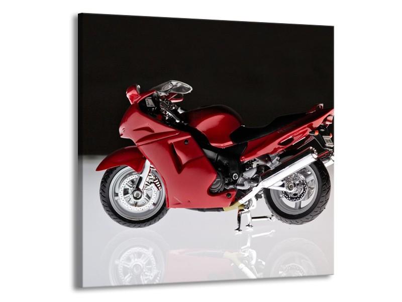 Glasschilderij Motor | Zwart, Wit, Rood | 70x70cm 1Luik