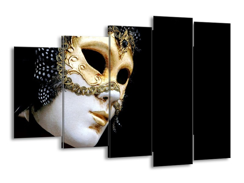 Glasschilderij Masker, Modern   Zwart, Wit, Goud   150x100cm 5Luik