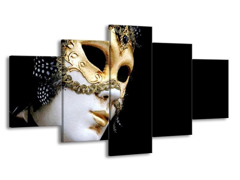 Canvas Schilderij Masker, Modern | Zwart, Wit, Goud | 150x80cm 5Luik
