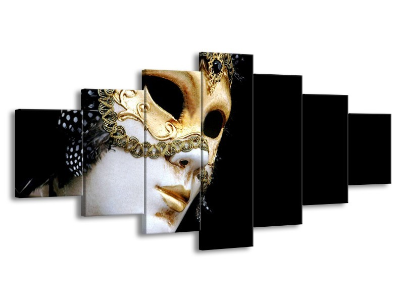 Glasschilderij Masker, Modern   Zwart, Wit, Goud   210x100cm 7Luik