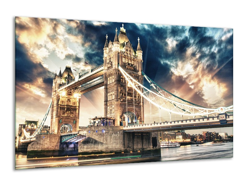 Canvas Schilderij Brug | Goud, Bruin, Blauw | 120x70cm 1Luik