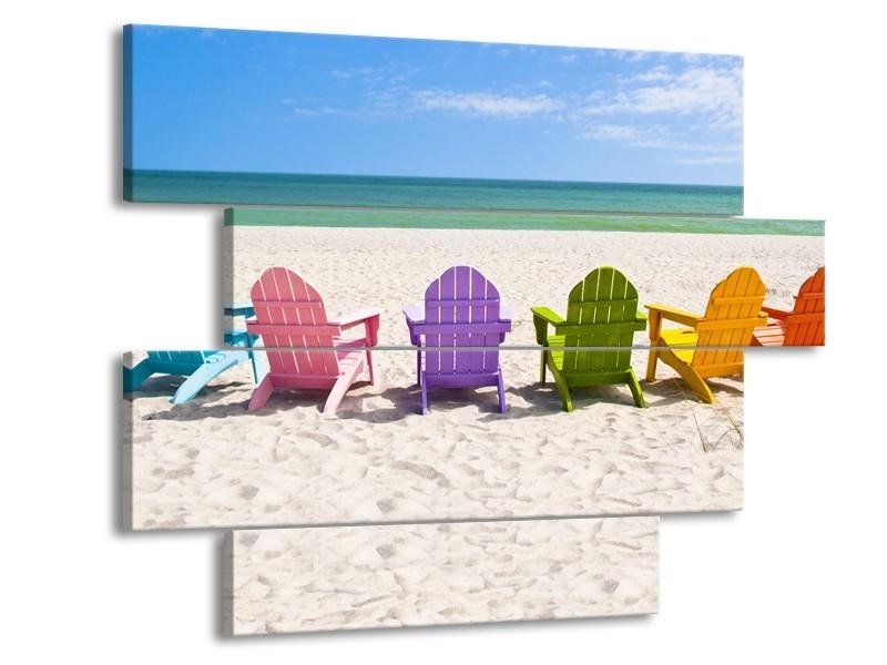 Canvas Schilderij Strand, Zee | Blauw, Crème, Groen | 115x85cm 4Luik