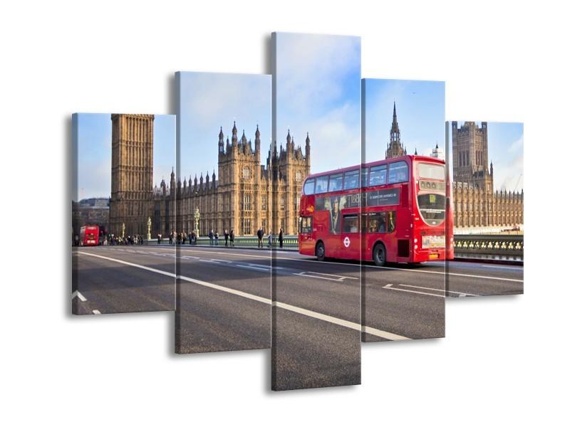 Glasschilderij Engeland, London | Grijs, Blauw, Rood | 150x105cm 5Luik