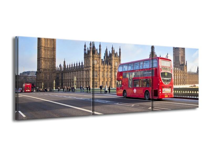 Canvas Schilderij Engeland, London | Grijs, Blauw, Rood | 150x50cm 3Luik