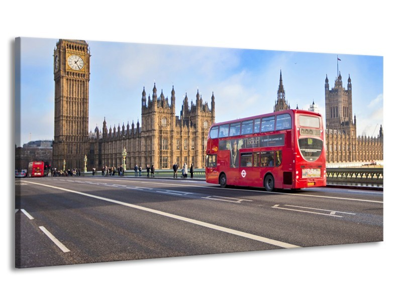 Canvas Schilderij Engeland, London | Grijs, Blauw, Rood | 170x90cm 1Luik