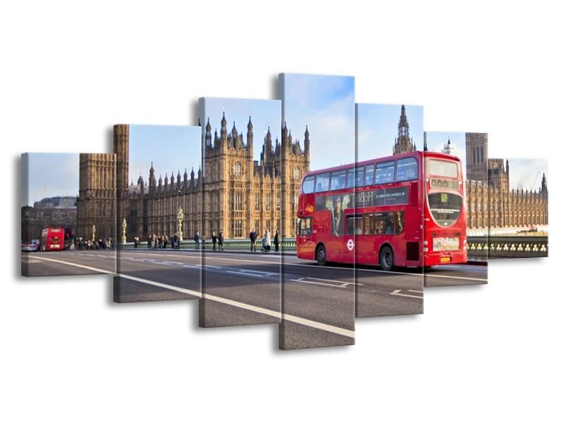 Glasschilderij Engeland, London | Grijs, Blauw, Rood | 210x100cm 7Luik