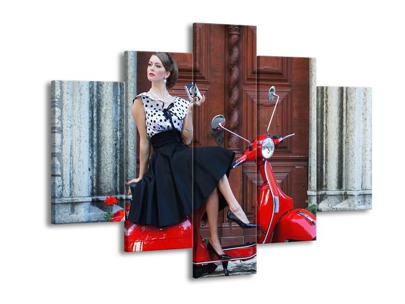 Glasschilderij Vrouw, Scooter | Rood, Zwart, Bruin | 150x105cm 5Luik