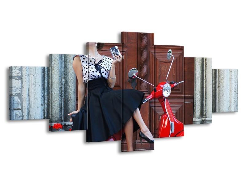 Glasschilderij Vrouw, Scooter   Rood, Zwart, Bruin   210x100cm 7Luik