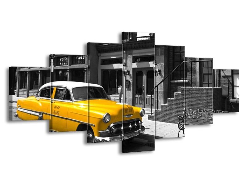 Glasschilderij Oldtimer, Auto | Zwart, Wit, Geel | 210x100cm 7Luik
