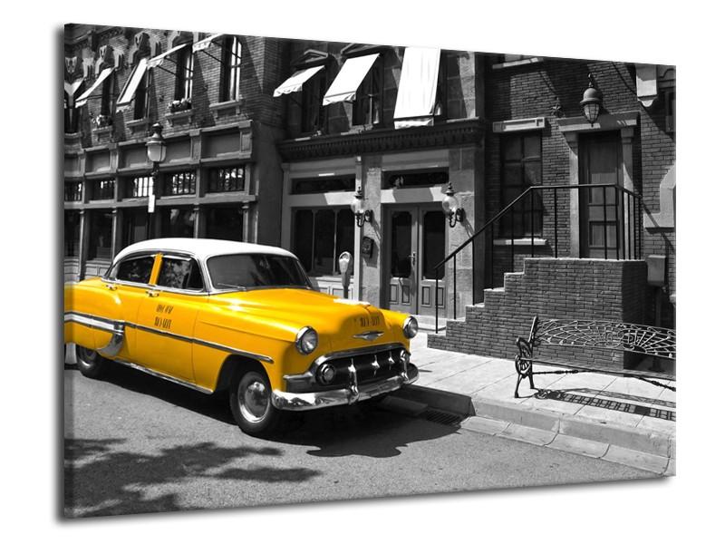 Canvas Schilderij Oldtimer, Auto | Zwart, Wit, Geel | 70x50cm 1Luik