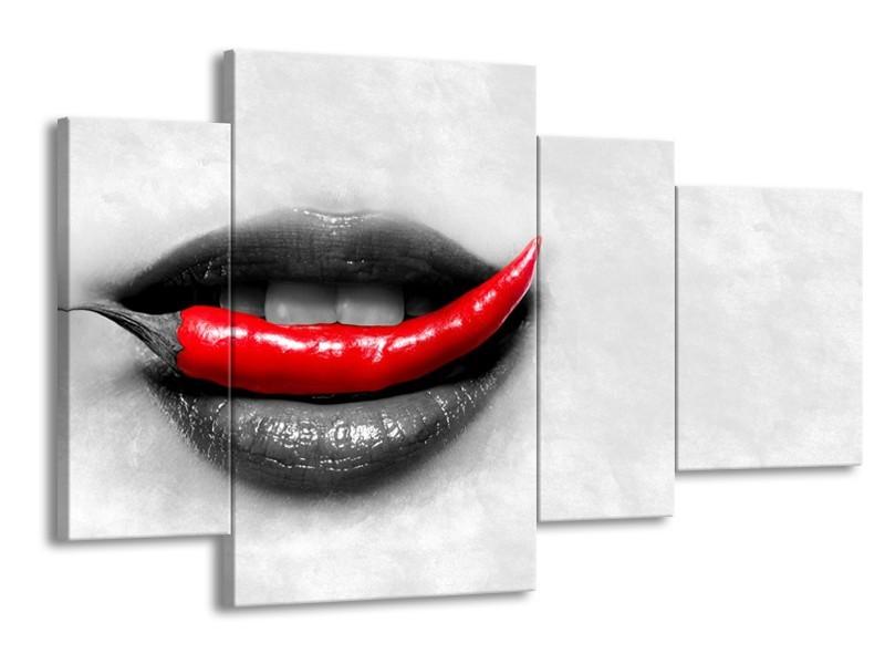 Canvas Schilderij Vrouw, Paprika   Grijs, Rood   120x75cm 4Luik
