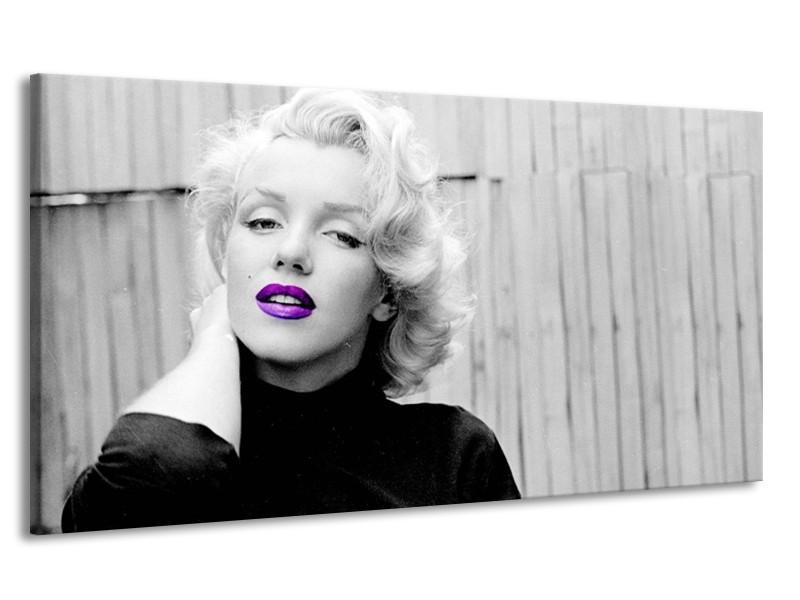 Canvas Schilderij Marilyn Monroe, Muziek | Grijs, Paars, Zwart | 170x90cm 1Luik