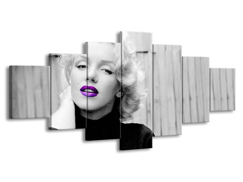 Glasschilderij Marilyn Monroe, Muziek   Grijs, Paars, Zwart   210x100cm 7Luik