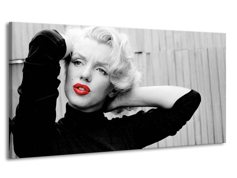 Canvas Schilderij Marilyn Monroe, Muziek | Grijs, Zwart, Rood | 170x90cm 1Luik