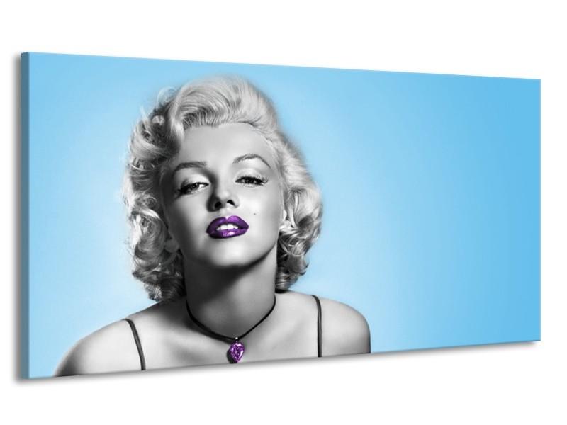 Canvas Schilderij Marilyn Monroe, Muziek | Grijs, Blauw, Paars | 170x90cm 1Luik