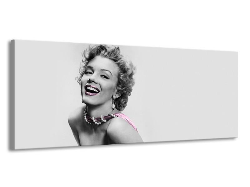 Glasschilderij Marilyn Monroe, Muziek   Grijs, Wit, Paars   145x58cm 1Luik
