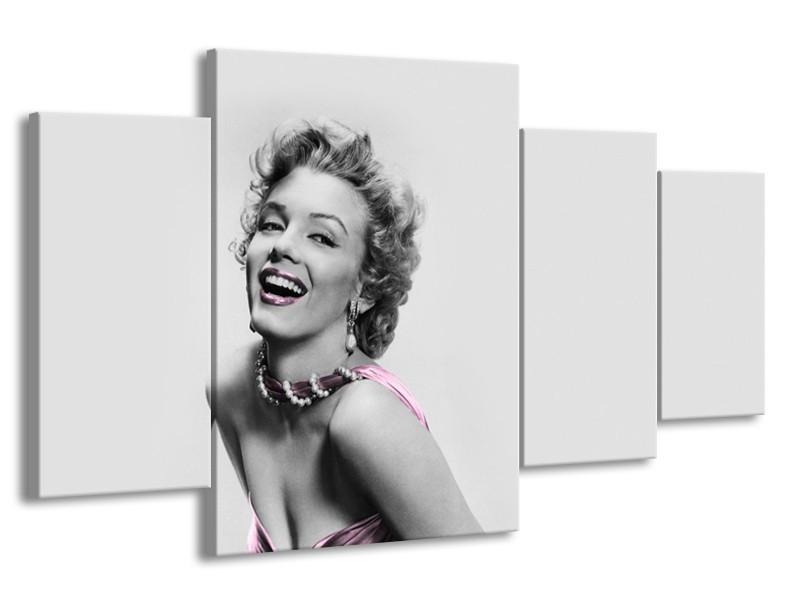 Glasschilderij Marilyn Monroe, Muziek   Grijs, Wit, Paars   160x90cm 4Luik