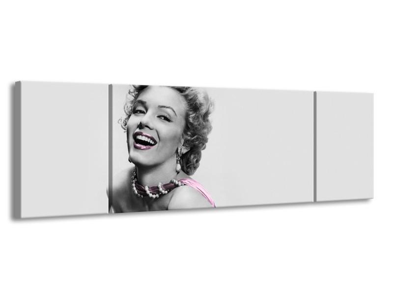 Canvas Schilderij Marilyn Monroe, Muziek | Grijs, Wit, Paars | 170x50cm 3Luik