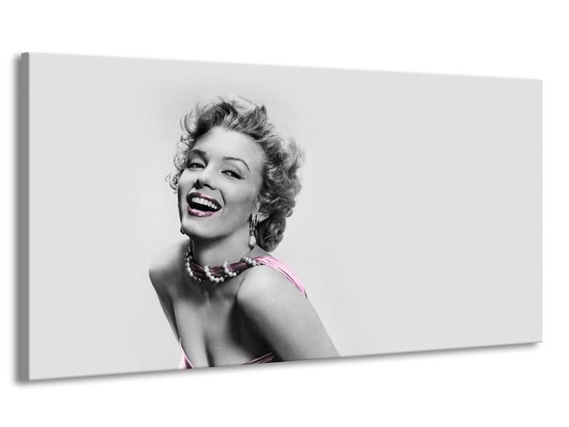 Canvas Schilderij Marilyn Monroe, Muziek | Grijs, Wit, Paars | 170x90cm 1Luik