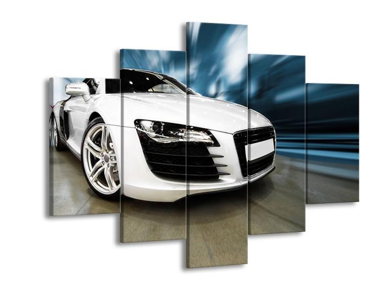Canvas Schilderij Audi, Auto | Wit, Blauw | 150x105cm 5Luik