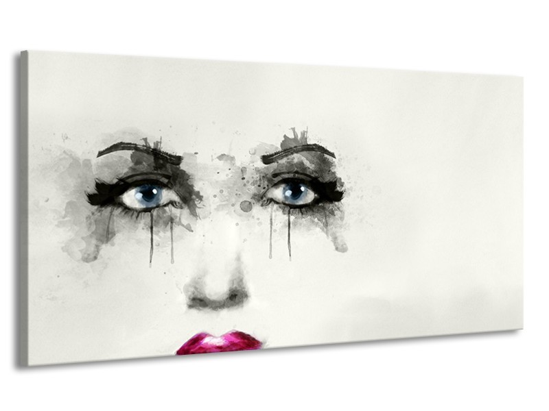 Canvas Schilderij Gezicht, Vrouw | Zwart, Roze, Crème | 170x90cm 1Luik