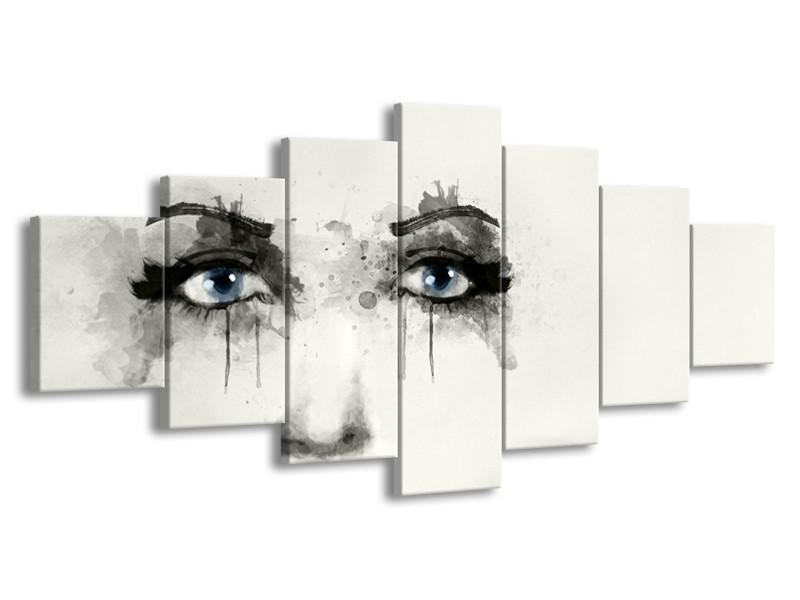 Glasschilderij Gezicht, Vrouw   Zwart, Roze, Crème   210x100cm 7Luik