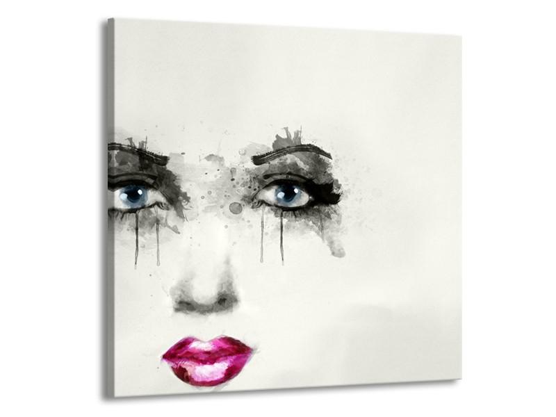 Canvas Schilderij Gezicht, Vrouw   Zwart, Roze, Crème   50x50cm 1Luik