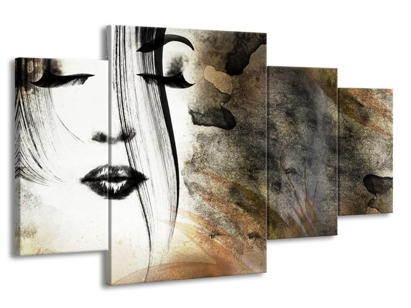 Canvas Schilderij Gezicht, Vrouw   Zwart, Bruin, Wit   160x90cm 4Luik