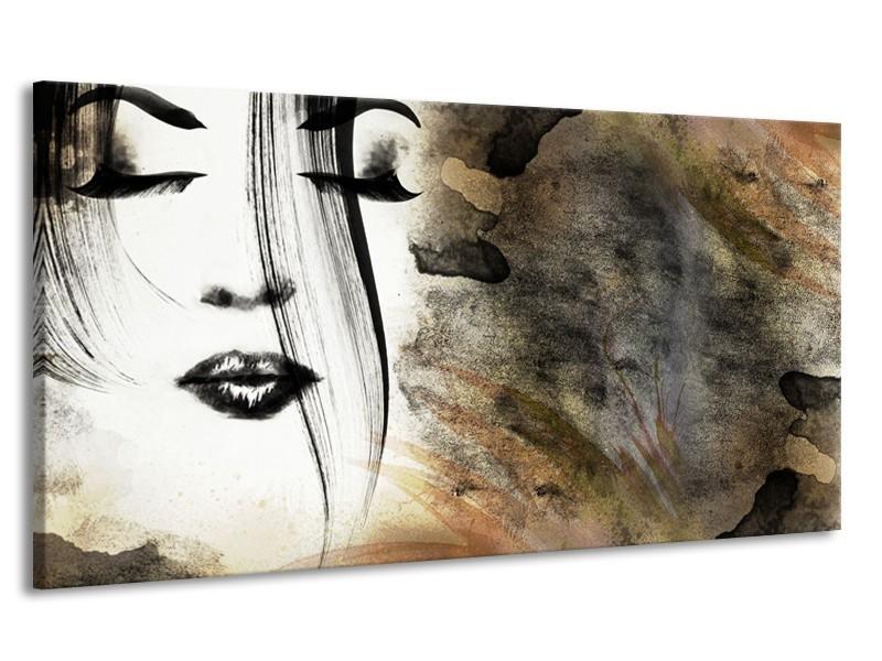 Canvas Schilderij Gezicht, Vrouw | Zwart, Bruin, Wit | 170x90cm 1Luik