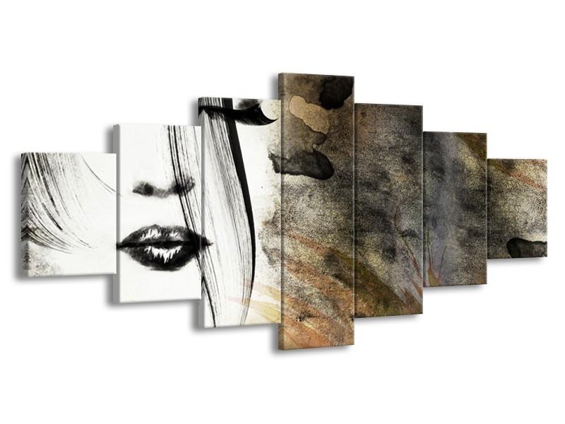 Glasschilderij Gezicht, Vrouw   Zwart, Bruin, Wit   210x100cm 7Luik