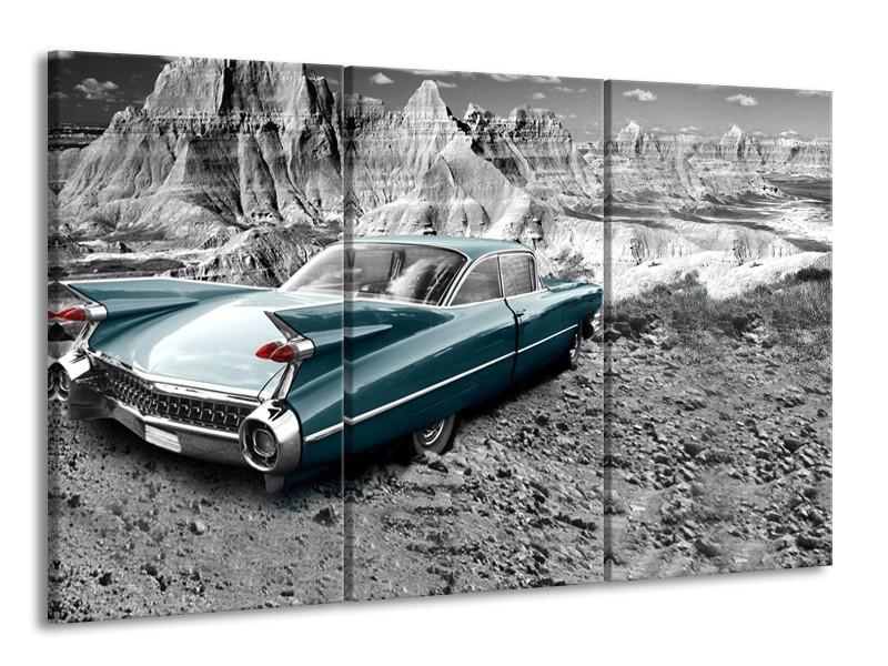 Glasschilderij Oldtimer, Auto | Zwart, Wit | 165x100cm 3Luik