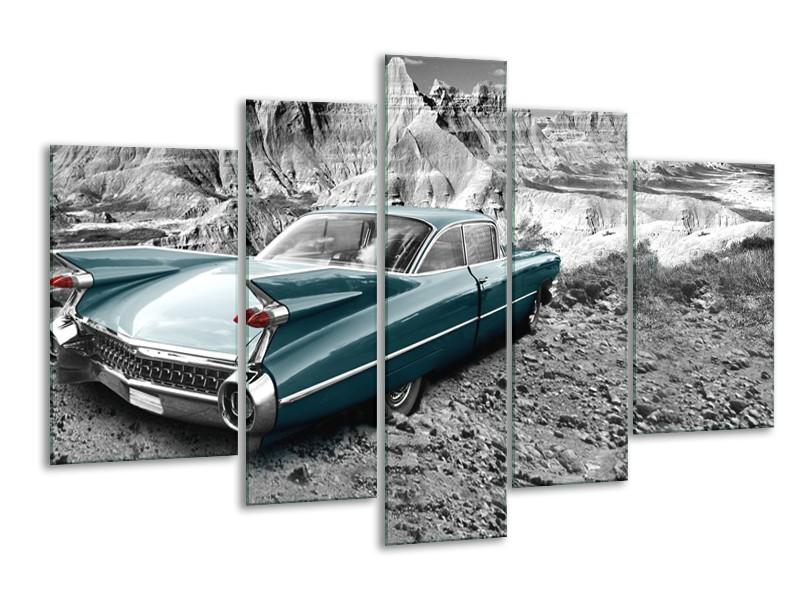 Canvas Schilderij Oldtimer, Auto | Zwart, Wit | 170x100cm 5Luik