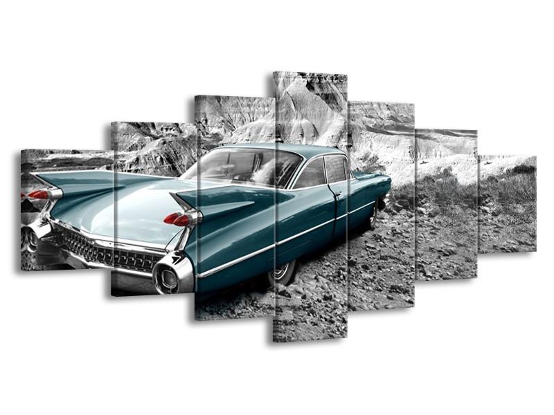 Glasschilderij Oldtimer, Auto | Zwart, Wit | 210x100cm 7Luik