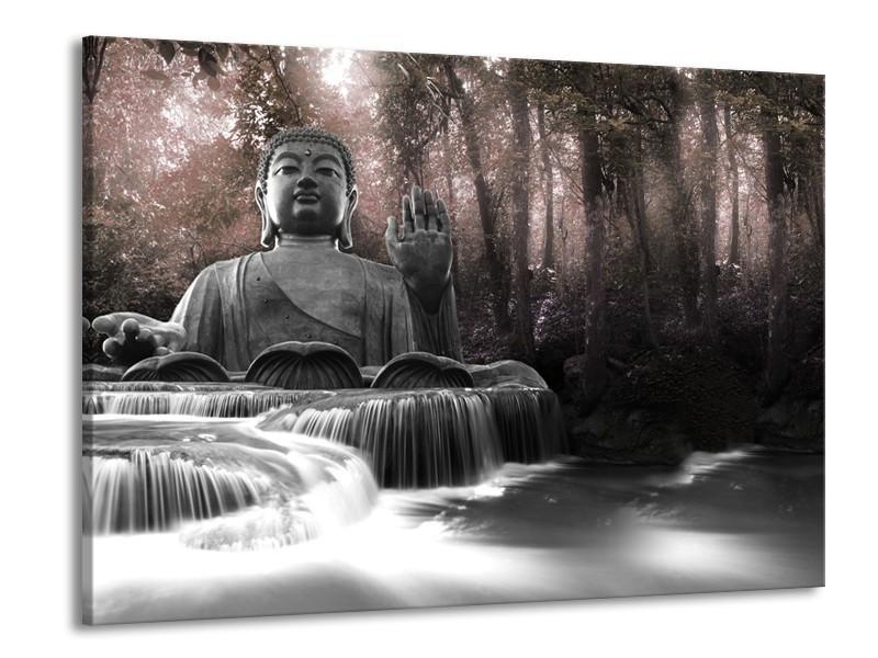 Glasschilderij Boeddha, Natuur | Grijs, Bruin | 100x70cm 1Luik
