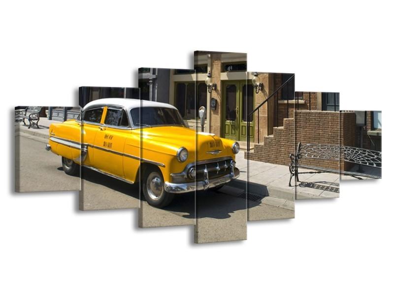 Glasschilderij Oldtimer, Auto | Geel, Bruin | 210x100cm 7Luik