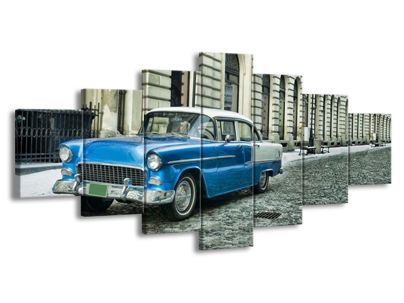 Glasschilderij Oldtimer, Auto | Blauw, Groen, Grijs | 210x100cm 7Luik