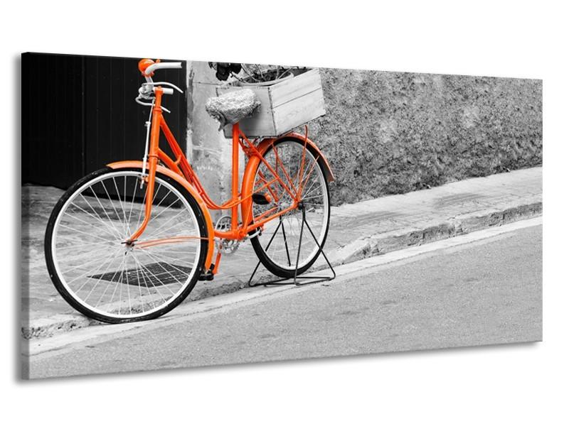 Canvas Schilderij Fiets  | Oranje, Zwart, Wit | 170x90cm 1Luik