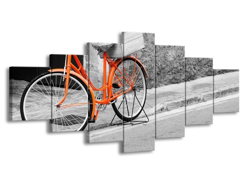 Glasschilderij Fiets | Oranje, Zwart, Wit | 210x100cm 7Luik